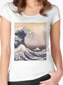 Katsushika Hokusai - The Great Wave Off the Coast of Kanagawa 19th century . Japanese Seascape Women's Fitted Scoop T-Shirt