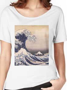 Katsushika Hokusai - The Great Wave Off the Coast of Kanagawa 19th century . Japanese Seascape Women's Relaxed Fit T-Shirt