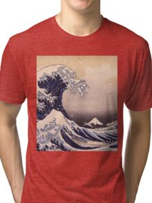 Katsushika Hokusai - The Great Wave Off the Coast of Kanagawa 19th century . Japanese Seascape Tri-blend T-Shirt