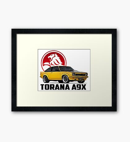 Holden Torana - A9X Hatchback - Yellow 2 Framed Print
