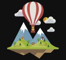 air trip mountain design balloon ballon montgolfière ballooning  Baby Tee