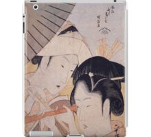 Katsushika Hokusai - Two Ladies with a Telescope. Japanese Fashion Woman Portrait iPad Case/Skin