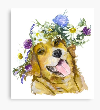 Dog with flowers. Canvas Print