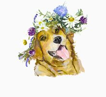 Dog with flowers. Womens Fitted T-Shirt