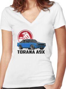 Holden Torana - A9X Hatchback - Blue 2 Women's Fitted V-Neck T-Shirt