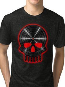 Vinyl Skull RED Tri-blend T-Shirt