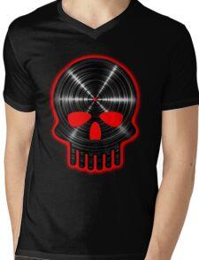 Vinyl Skull RED Mens V-Neck T-Shirt