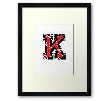 Letter K (Distressed) two-color black/red character Framed Print