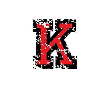 Letter K (Distressed) two-color black/red character Photographic Print