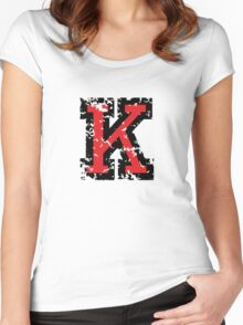 Letter K (Distressed) two-color black/red character Women's Fitted Scoop T-Shirt