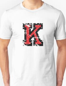 Letter K (Distressed) two-color black/red character Unisex T-Shirt