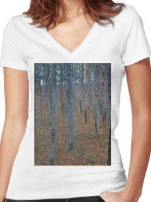 Klimt - Beech Grove . Gustav Klimt - Landscape . Austrian Trees Women's Fitted V-Neck T-Shirt