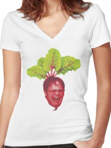 The Office: Dwight Schrute Beet Women's Fitted V-Neck T-Shirt