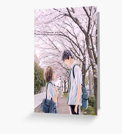 Love under the Sakura trees Greeting Card