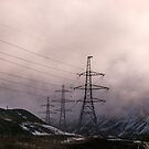 Pylons in the Mountains by OpalFire