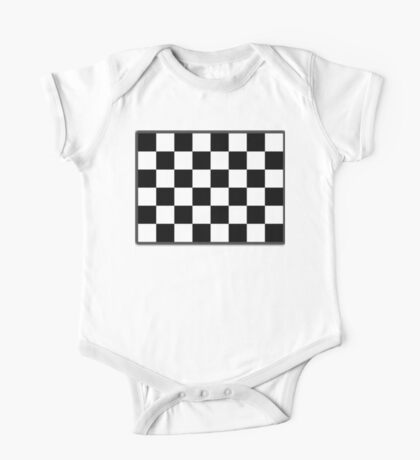 Checkered Flag, WIN, WINNER, Chequered Flag, Racing Cars, Race, Finish line, BLACK One Piece - Short Sleeve