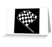 MOTOR SPORT, Racing Cars, Race, Checkered Flag, Flutter, WIN, WINNER, Chequered Flag, Finish line, BLACK Greeting Card