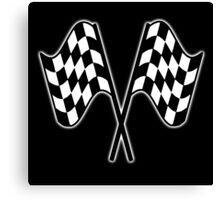 MOTOR SPORT, Racing Cars, Race, Checkered Flag, Le Mans,Flutter, WIN, WINNER, Chequered Flag, Double, Finish line, BLACK Canvas Print