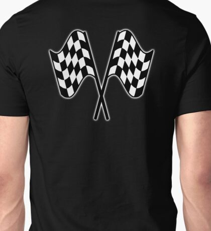MOTOR SPORT, RACING, Racing Cars, Race, Checkered Flag, Le Mans, Flutter, WIN, WINNER, Chequered Flag, Double, Finish line, BLACK Unisex T-Shirt