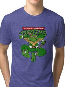 Mighty Morphin Turtles Green Ranger Michaelangelo Tri-blend T-Shirt