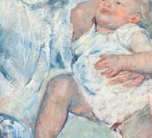 Mary Cassatt - Mother About to Wash Her Sleepy Child 1880 , American Impressionism  Sticker