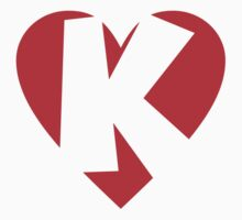 I love K - Heart K - Heart with letter K One Piece - Short Sleeve