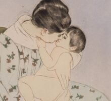 Mary Cassatt - Mother's Kiss 1890 - 1891 , Woman Sitting with a Child , American Impressionism  Sticker