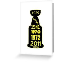 Boston Bruins Stanley Cup Winning Years Greeting Card