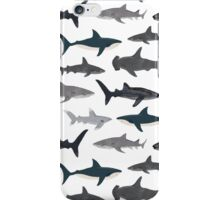 Sharks, illustration, art print ,ocean life,sea life ,animal ,marine biologist ,kids ,boys, gender neutral ,educational ,Andrea Lauren , shark week, shark, great white shark,  iPhone Case/Skin