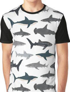 Sharks, illustration, art print ,ocean life,sea life ,animal ,marine biologist ,kids ,boys, gender neutral ,educational ,Andrea Lauren , shark week, shark, great white shark,  Graphic T-Shirt