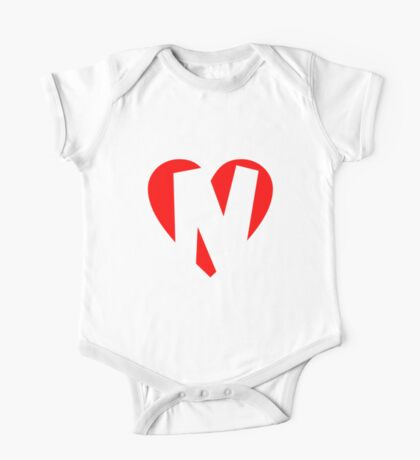 I love N - Heart N - Heart with letter N One Piece - Short Sleeve