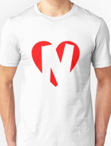 I love N - Heart N - Heart with letter N Unisex T-Shirt