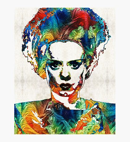 Frankenstein Bride Art - Colorful Monster Bride - By Sharon Cummings Photographic Print