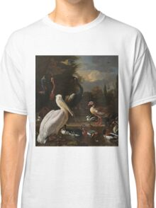 Melchior d Hondecoeter - A Pelican and Other Birds near a Pool, known as  The Floating Feather Around 1680 Classic T-Shirt