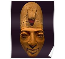 Egyptian head carving in stone Poster