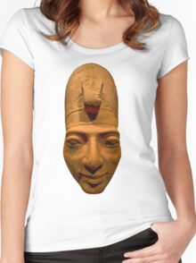 Egyptian head carving in stone Women's Fitted Scoop T-Shirt
