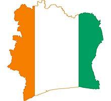Flag Map of Côte d'Ivoire Photographic Print