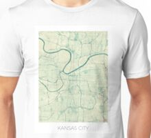 Kansas City Map Blue Vintage Unisex T-Shirt