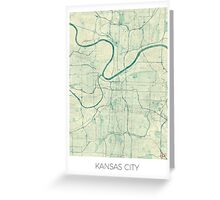 Kansas City Map Blue Vintage Greeting Card