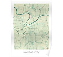 Kansas City Map Blue Vintage Poster