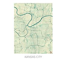 Kansas City Map Blue Vintage Photographic Print