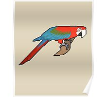 Pixel/ 8-bit Parrot: Green-winged Macaw Poster