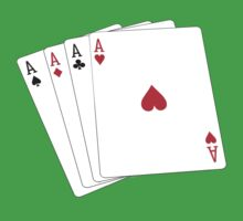 ACE, Aces High, Gamble, Four Aces, Poker, Playing Cards, Winning Hand, on green Baby Tee