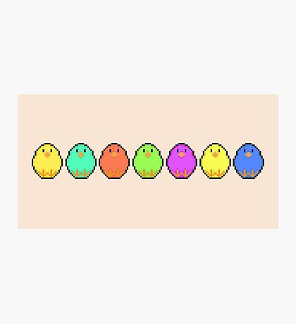 Pixel/ 8-bit Rainbow Chicks Photographic Print