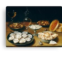 Osias Beert the Elder - Dishes with Oysters, Fruit, and Wine  1620-1625 Canvas Print