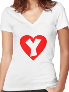 I love Y- Heart Y - Heart with letter Y Women's Fitted V-Neck T-Shirt