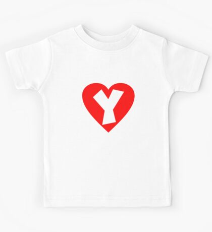 I love Y- Heart Y - Heart with letter Y Kids Tee