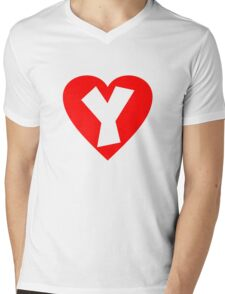 I love Y- Heart Y - Heart with letter Y Mens V-Neck T-Shirt