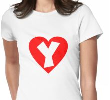 I love Y- Heart Y - Heart with letter Y Womens Fitted T-Shirt