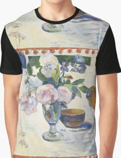 Paul Gauguin - Flowers and a Bowl of Fruit on a Table . Still Life  Graphic T-Shirt